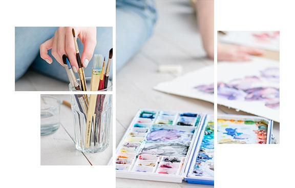 Encres, peintures, pinceaux